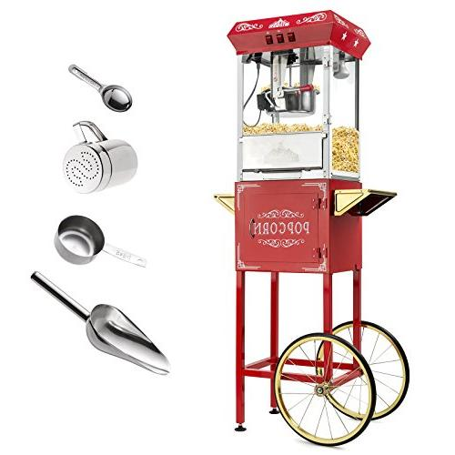 Olde Midway Vintage Popcorn Machine Maker with Kettle - Red