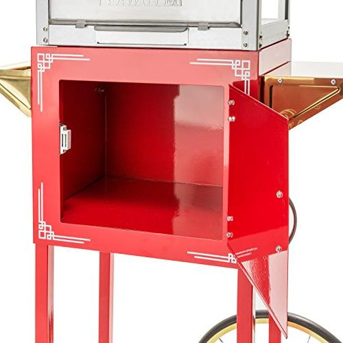 Olde Popcorn Machine Popper with and Kettle Red