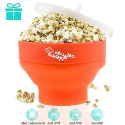 Microwave Popcorn Popper Maker Silicone Collapsible Bowl wit