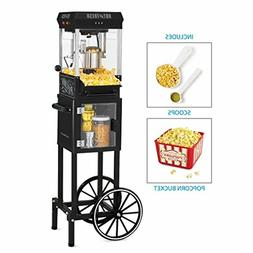 Movie Theater Popcorn Maker Popper Cart with Wheels Hom