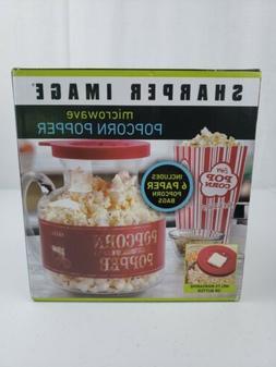 NEW Sharper Image Popcorn Kernel Popper - Glass Microwave Po