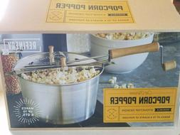 Old Fashioned Aluminum & Wood Stovetop Popcorn Popper 6 QT H