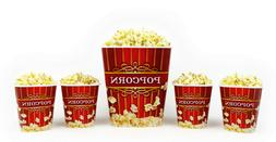 Popcorn Bucket Set - 1 Large & 4 Small Plastic Serving Bowl