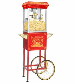 Great Northern Popcorn Machine 8OZ Red With Cart Retro Elect
