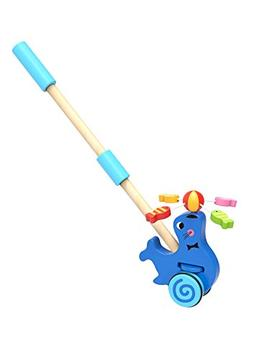 TOYSTERS Push Along Toddler Walking Seal | Wood Stand Up Pus