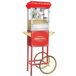 Red Full Foundation Popcorn Popper Machine Maker with Cart a
