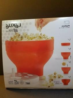 Lekue Red Microwave Popcorn Maker/Popper, Silicone BPA Free