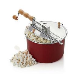 Red Popcorn Maker Stovetop Kettle Popper Hand Crank Stirring