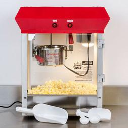 Stainless Steel Red 4 oz. Electric Popcorn Machine / Popper