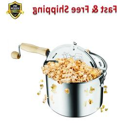 Stainless Steel Stove Top 6-1/2 Quart Popcorn Popper Knobs D