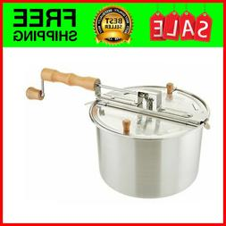Stovetop Popcorn Popper 6 Quart Stainless Steel Stove Pop To