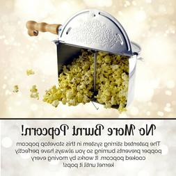 Stovetop Popcorn Popper 6qt 6 Quart Maker for Home Metal Lar