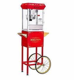 Vintage 8 Oz Red Kettle Popcorn Machine Popper Maker Cart Fu