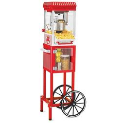 Vintage Red Popcorn Cart Machine Stand Maker Popper Home Mov