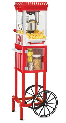 vintage red popcorn cart machine stand maker