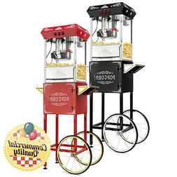 Vintage Style Popcorn Machine Maker Popper with Cart and 8-O
