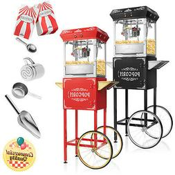 Vintage Style Popcorn Machine Maker Popper with Cart and 6-O