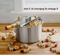 WABASH VALLEY FARMS 6qt WHIRLEY-POP STOVETOP POPCORN POPPER